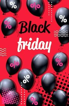 Czarny piątek oferta specjalna sprzedaż plakat z balonów na zakupy ulotka na zakupy promocja wakacyjna gorąca cena zniżki koncepcja pionowa ilustracja wektorowa