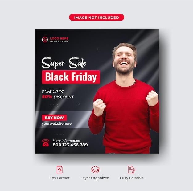Czarny piątek oferta specjalna wyprzedaż mody post w mediach społecznościowych lub szablon banera internetowego premium wektorów