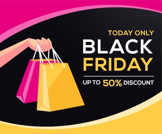 Czarny piątek oferuje baner z torbą na zakupy