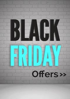 Czarny piątek oferuje realistyczny szablon banera internetowego 3d. układ plakatu reklamowego sprzedaży zakupów. dzień niskich cen, promocyjna kampania marketingowa. typografia na tle ściany z cegły