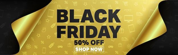 Czarny piątek plakat lub baner z otwartą koncepcją papieru do pakowania prezentów.