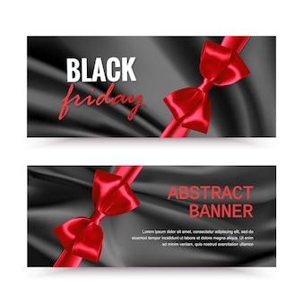 Czarny piątek poziomy baner z czerwoną kokardą banery sprzedaży w czarny piątek