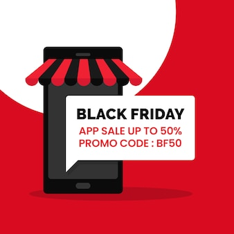 Czarny piątek promocja sprzedaży aplikacji plakat społecznościowy