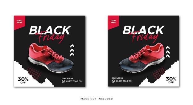 Czarny piątek promocyjny baner butów w mediach społecznościowych