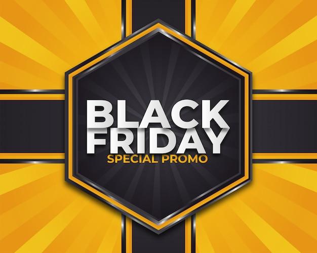 Czarny piątek promocyjny plakat lub baner na żółtym rozbłysku