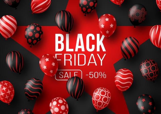 Czarny piątek promocyjny plakat lub baner z balonami. specjalna oferta 50% zniżki na sprzedaż w kolorze czarnym i czerwonym. szablon promocji i zakupów na czarny piątek