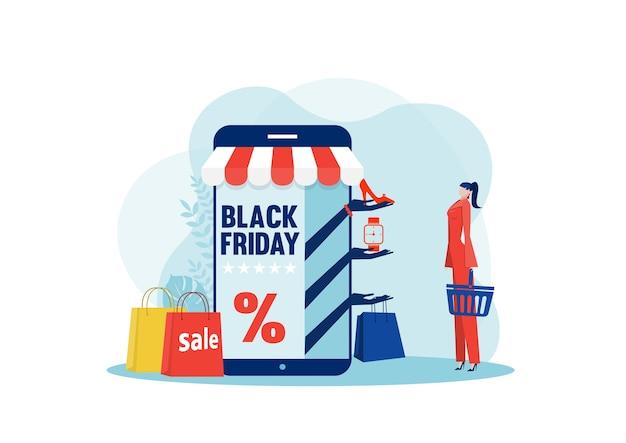 Czarny piątek sklep, kobieta kupująca z super rabatem, usługa sklepu online, ilustracja marketingowa zakupu promocyjnego