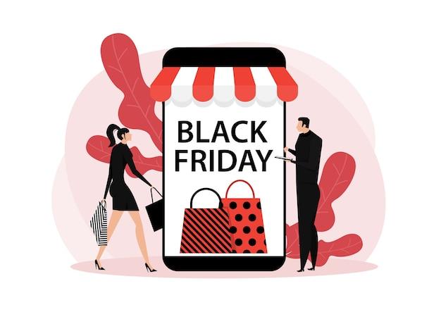 Czarny piątek sklep, usługa online dla kobiet i mężczyzn, ilustracja marketingowa zakupu promocyjnego