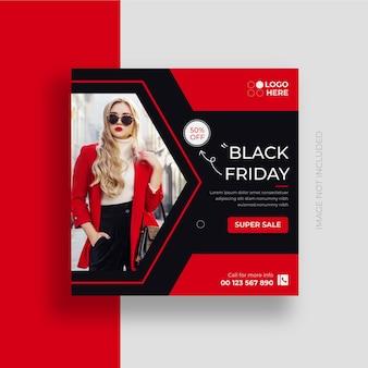 Czarny piątek social media post banner wyprzedaż mody i szablon projektu postu na instagram