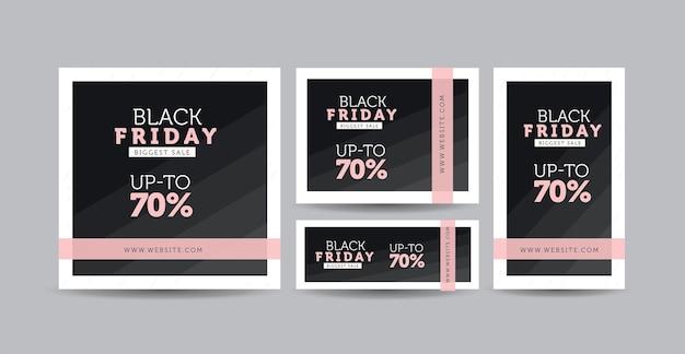 Czarny piątek social media post design, projekt banera strony internetowej