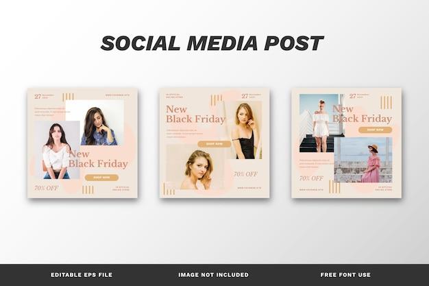 Czarny piątek social media post set template