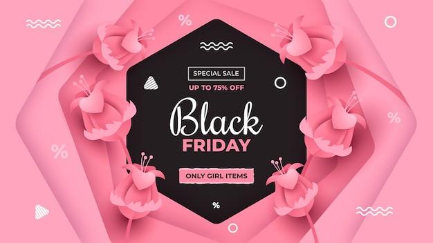 Czarny piątek special sale banner w stylu pink papercut