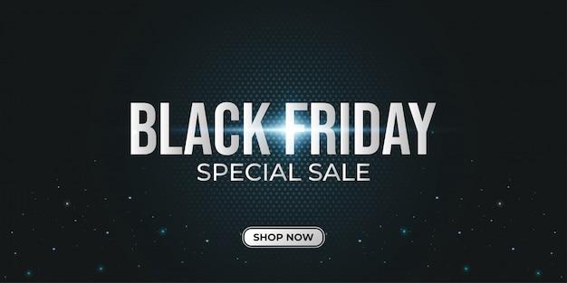 Czarny piątek special sale banner z ciemnym tłem półtonów