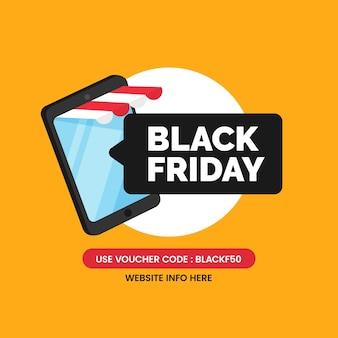 Czarny piątek sprzedaż aplikacji projekt plakatu w mediach społecznościowych z mobilnym smartfonem sklepu internetowego