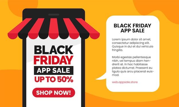 Czarny piątek sprzedaż aplikacji w mediach społecznościowych projekt szablonu promocji banera z inteligentnym telefonem