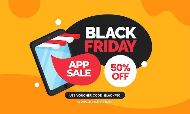 Czarny piątek sprzedaż aplikacji w sklepie internetowym projekt szablonu banera promocyjnego z mobilnym smartfonem