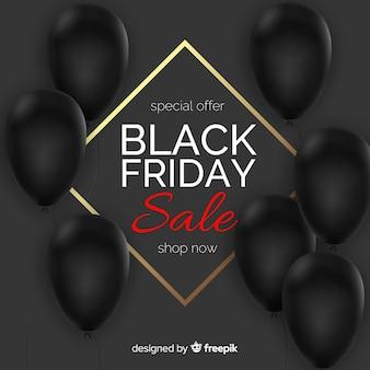 Czarny piątek sprzedaż balon tło