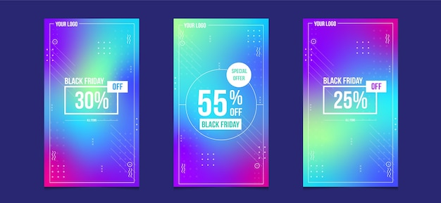 Czarny piątek sprzedaż baner opowiadań na instagramie w mediach społecznościowych z kolorem gradientu