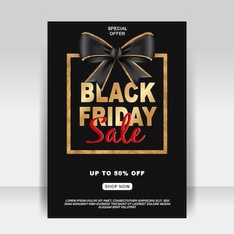 Czarny piątek sprzedaż baner ulotki ze złotą wstążką