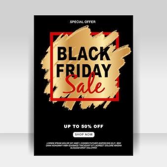 Czarny piątek sprzedaż baner ulotki ze złotym pędzlem