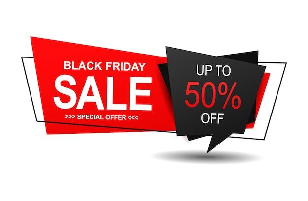 Czarny piątek sprzedaż baner z modną płaską geometrią.