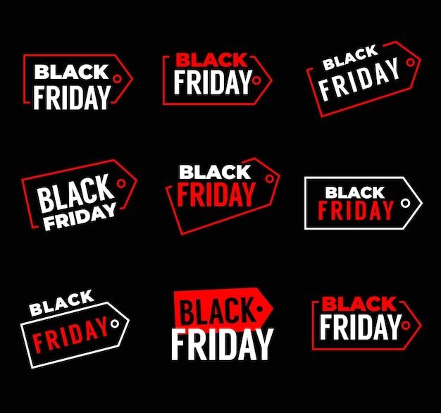 Czarny piątek sprzedaż banery, weekendowy sklep oferują etykiety promocyjne, znaczniki wektorowe. czarne piątkowe plakaty promocyjne ze zniżkami i sklepami z obniżoną ceną, czerwono-białe banery z wyprzedażami zakupów