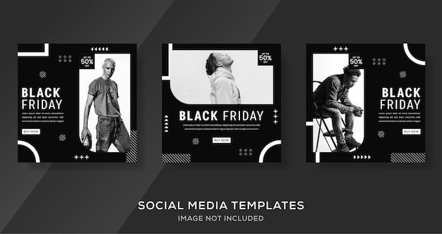 Czarny piątek sprzedaż banner post na instagramie w czarno-białym kolorze.