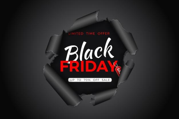 Czarny piątek sprzedaż banner. rozdarta dziura w papierze z tagiem czarny piątek. ulotka na wyprzedaż w czarny piątek. ilustracja
