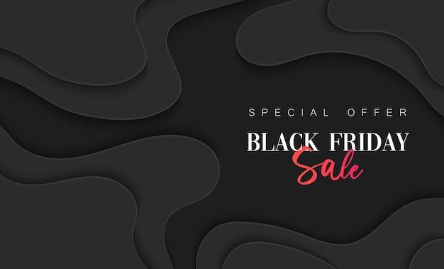 Czarny piątek sprzedaż banner. szablon ilustracji do mediów społecznościowych do tworzenia stron internetowych, wiadomości e-mail i biuletynów, materiałów marketingowych w wycięciu z papieru.