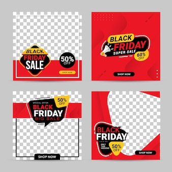 Czarny piątek sprzedaż banner szablon postu w mediach społecznościowych