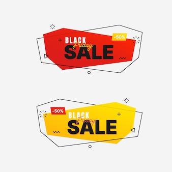 Czarny piątek sprzedaż banner w modnym stylu geometrycznym