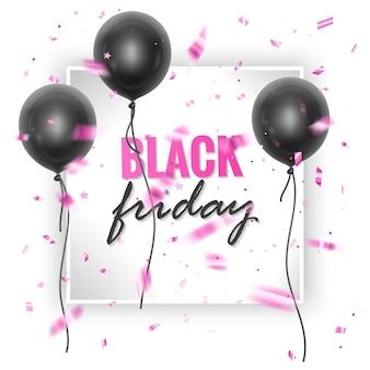 Czarny piątek sprzedaż banner z błyszczącymi czarnymi balonami i konfetti