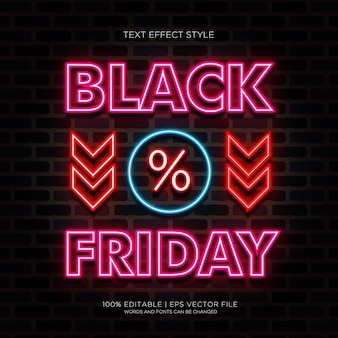 Czarny piątek sprzedaż banner z efektami tekstu neonowego