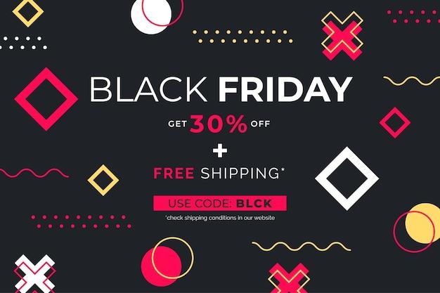 Czarny piątek sprzedaż banner z geometrycznymi kształtami