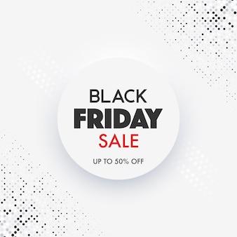 Czarny piątek sprzedaż banner z neomorficznym wzorem w kolorze białym