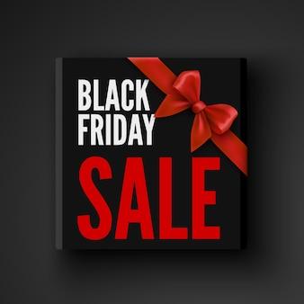 Czarny piątek sprzedaż banner z pudełkiem i czerwoną kokardą