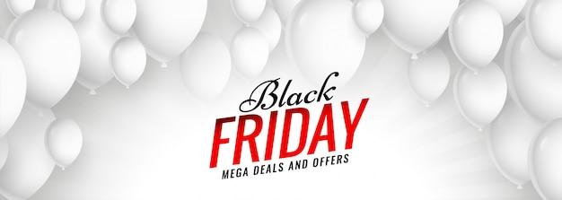 Czarny piątek sprzedaż białe balony transparent