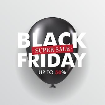 Czarny piątek sprzedaż błyszczący czarny balon