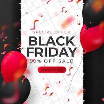 Czarny piątek sprzedaż czarno-biały szablon transparent