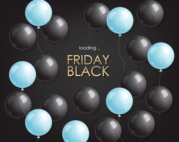Czarny piątek sprzedaż, czarny sztandar, super sprzedaż, oferta specjalna, szablon projektu, niebieskie i czarne balony ilustracji