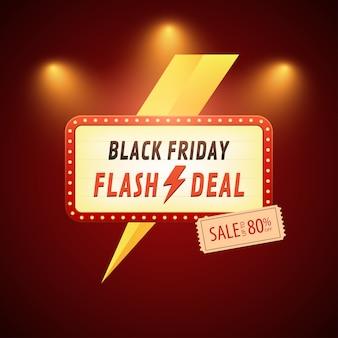 Czarny piątek sprzedaż flash banner z piorunami