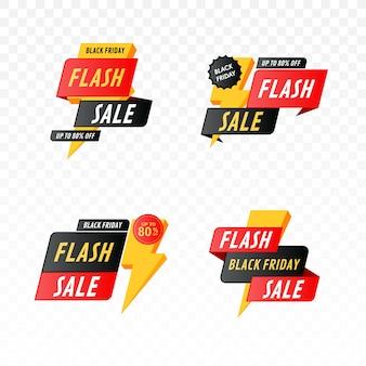 Czarny piątek sprzedaż flash banner z zestawem błyskawicy