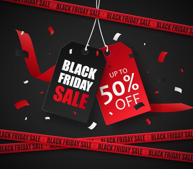 Czarny piątek sprzedaż foka szablon transparent