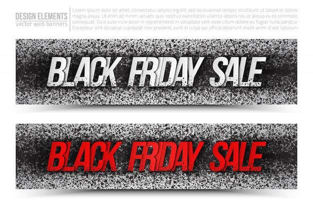 Czarny piątek sprzedaż grunge zestaw bannerów internetowych