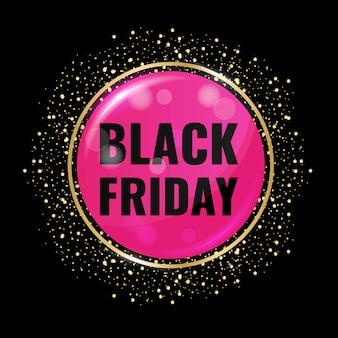 Czarny piątek sprzedaż koło transparent na ciemnym tle z brokatem złota.