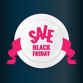 Czarny piątek sprzedaż koło transparent na ciemnym tle z różową wstążką.