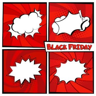Czarny piątek sprzedaż komiks szablon transparent tło zestaw