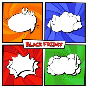 Czarny piątek sprzedaż komiks transparent szablon kolor tła zestaw