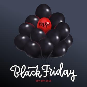 Czarny piątek sprzedaż kwadrat z wiązką ciemnych błyszczących balonów na białym tle. jeden czerwony balonik z helem z napisem big sale.