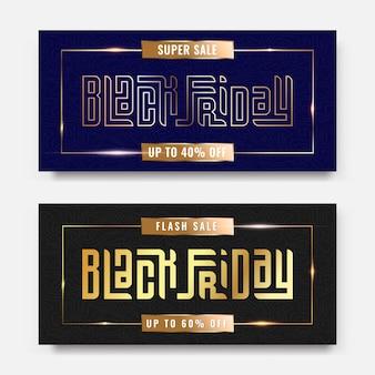 Czarny piątek sprzedaż luksusowa złota typografia napis kwadratowy koncepcja modnej ulotki i promocji szablonu banera